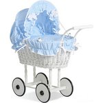 more details on Supreme Baby Retro Handmade Wicker Doll Pram - Blue.