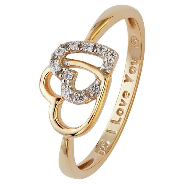 Buy Moon Back 9ct Gold Plated Silver Two Heart Cz Message Ring Dress Rings Argos