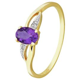 Revere 9ct Yellow Gold Amethyst & Diamond Shoulder Ring