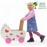 more details on Eco Toys Wooden Doll Pram with Bedding - White & Pink.