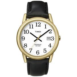 Timex Men's Black Leather Strap Easy Reader Watch