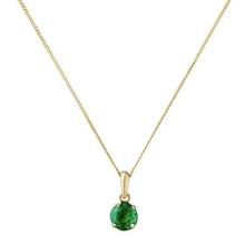 Revere 9ct Gold 5mm Created Emerald Pendant - May