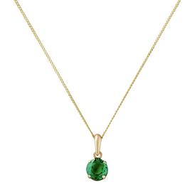 Revere 9ct Gold Created Emerald 5mm Pendant 16 Inch Necklace
