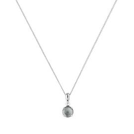 Revere 9ct White Gold Aquamarine Pendant 16 Inch Necklace