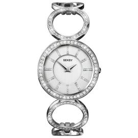 Seksy Ladies Silver Stainless Steel Stone Set Bracelet Watch