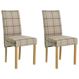 Argos Home Pair of Fabric Skirted Chairs - Mink Check