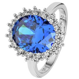 Revere Sterling Silver Dark Blue Sapphire Oval Halo Ring