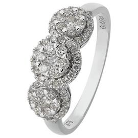 Revere 9ct White Gold 0.50ct tw Diamond Trilogy Ring
