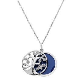 Moon & Back Silver Tree of Life Locket 18 Inch Necklace