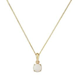 Revere 9ct Gold Opal 5mm Pendant 16 Inch Necklace - October