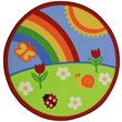Slip Resistant Circle Rug - 100x100cm - Rainbow