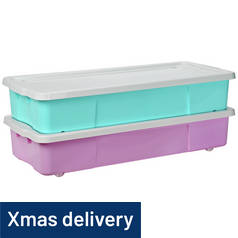 Argos Home Pair of Underbed Storage Boxes - Pink