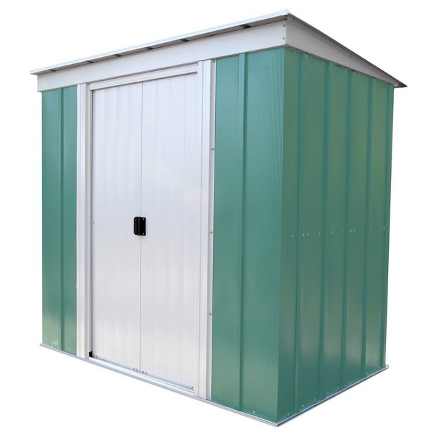Buy arrow pent metal garden shed 6 x 4ft at for Sheds storage buildings