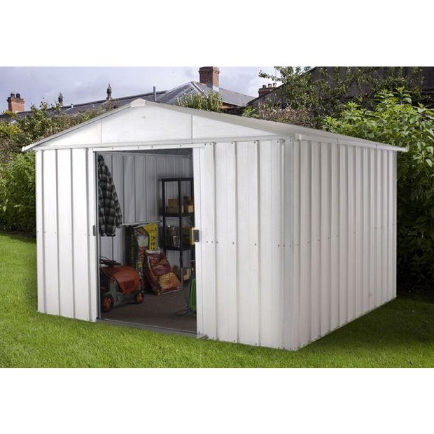 Buy yardmaster apex metal garden shed 10 x 8ft at argos for Garden shed homebase
