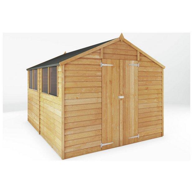 Buy mercia garden overlap apex wooden garden shed 10 x for Garden shed 4 u