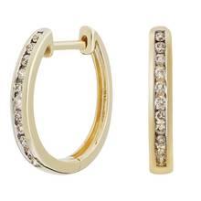 Revere 9ct Yellow Gold 0.15ct Diamond Huggie Hoop Earrings