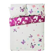 HOME Amelie Pink Butterfly Bedding Set - Double