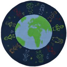 slip resistant circle rug 200x200cm world map