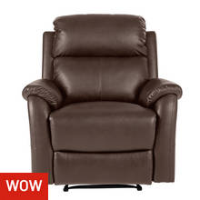 HOME Tyler Leather Effect Manual Recliner Chair - Dark Brown