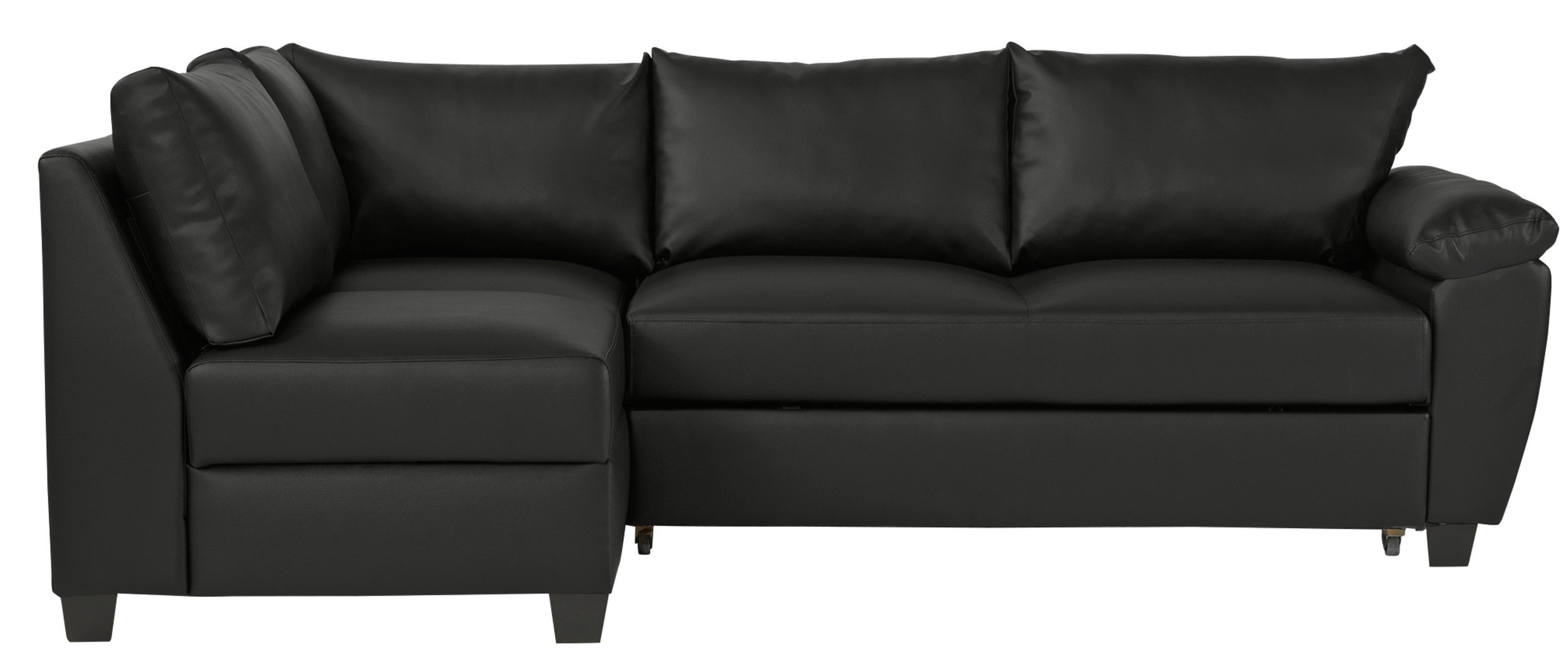 corner sofa bed. Collection Fernando Leather Eff Left Corner Sofa Bed - Black