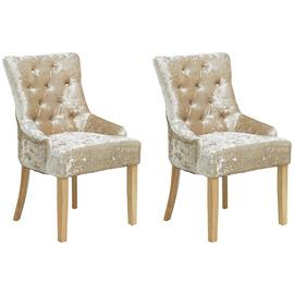 Argos Home Cherwell 2 Button Velvet Chairs - Champagne