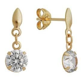 Revere 9ct Yellow Gold Cubic Zirconia Round Drop Earrings
