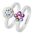 more details on Miss Glitter Silver Kids' Adjustable Ring - Set of 2.