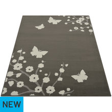 Maestro Butterfly and Floral Rug - 120x170cm - Grey
