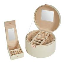 Beige Faux Leather Jewellery Box with Travel Set