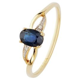 Revere 9ct Yellow Gold Oval Sapphire & Diamond Shoulder Ring