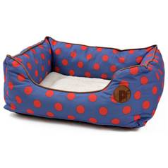 Petface Blue Spots Square Bed - Medium