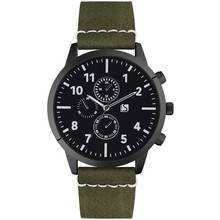Spirit Men's Black Dial Khaki Strap Watch