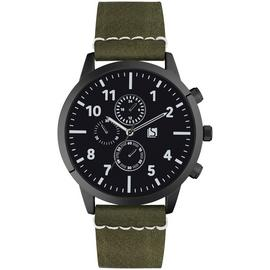 Spirit Men's Green Faux Leather Strap Chronograph Watch