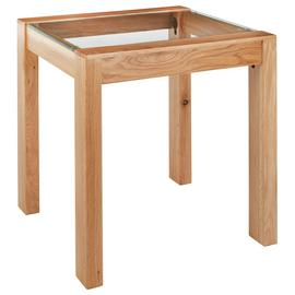 Argos Home Square Solid Wood & Glass End Table - Oak Effect