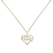Moon & Back Silver Heart Mum Pendant 18 Inch Necklace