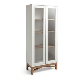 Argos Home Zander Textured Display Unit - White & Oak Effect
