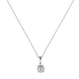 Revere 9ct White Gold 0.25ct tw Diamond Halo Pendant 18 Inch