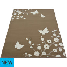 Maestro Butterfly and Floral Rug - 120x170cm - Taupe