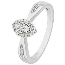 Revere 9ct White Gold 0.10ct tw Diamond Marquise Halo Ring