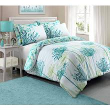 Pieridae Teal Meadow Bedding Set - Double