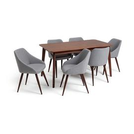 Habitat Skandi Walnut Veneer Dining Table & 6 Grey Chairs