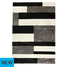 Collection Noble Shaggy Rug - 200x290cm - Grey Block
