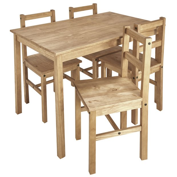 Argos Home Raye Solid Wood Table 4 Chairs