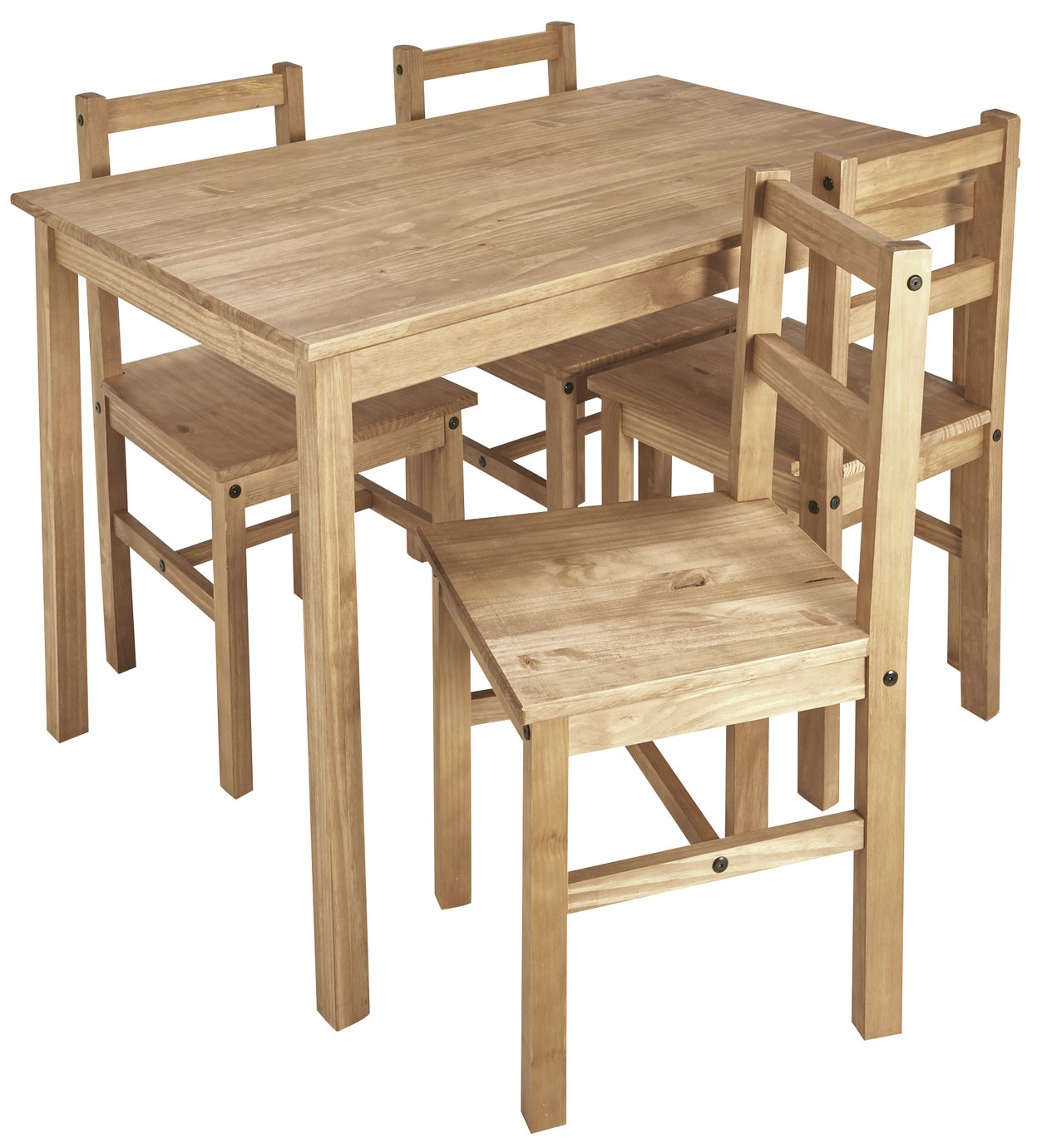 Argos Home Raye Solid Wood Table U0026 4 Chairs   Natural