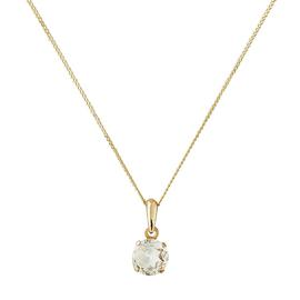 Revere 9ct Gold White Topaz 5mm Pendant 16 Inch Necklace