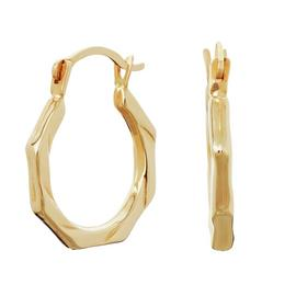 Revere 9ct Yellow Gold Hexagon Creole Hoop Earrings