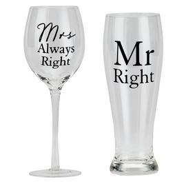 Amore Mr Right & Mrs Always Right Wine & Pint Glass Set