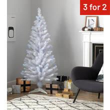 home 5ft fibre optic christmas tree white