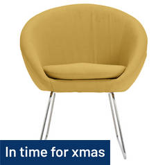 Hygena Fabric Pod Chair - Yellow