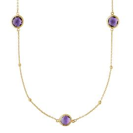 Revere 9ct Gold Amethyst Long 36inch Necklace